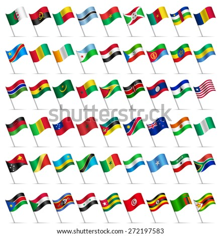 Waving Flags of the world, part 6/6 Africa  - stock vector