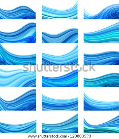 wavy business cards, banners, brochure templates collection - presentation background - stock vector