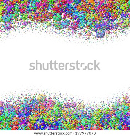 Wavy frame with heap of scattered colorful balls - stock vector