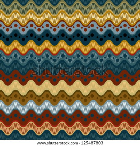 Wavy lines and dots seamless pattern, vector background. - stock vector