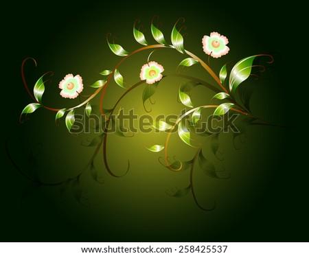 Wavy pattern of beautiful green flowers on a dark base. EPS10 vector illustration. - stock vector