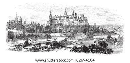 Wawel Castle or Royal Castle in Krakow, Poland, during the 1890s, vintage engraving. Old engraved illustration of Wawel Castle. Trousset encyclopedia (1886 - 1891). - stock vector