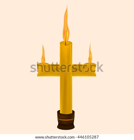 wax candle in the shape of a cross in a candlestick. - stock vector