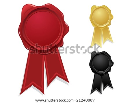 Wax seal with ribbons - stock vector