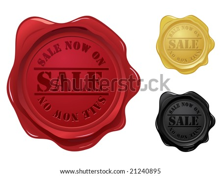Wax seal with sale stamp - stock vector