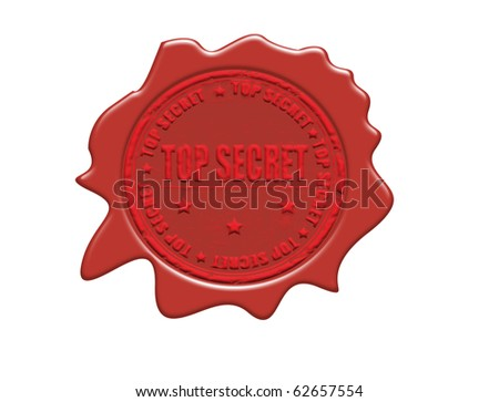 Wax seal with small stars and thetext Top Secret, vector illustration - stock vector