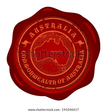 Wax seal with the word Australia, vector illustration - stock vector