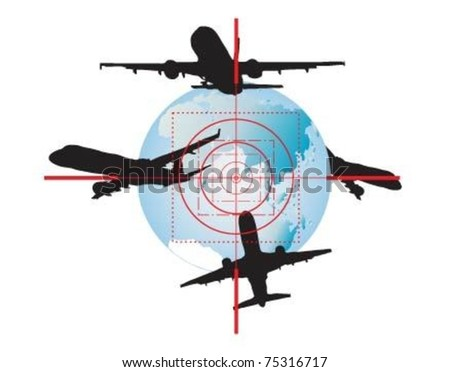 Way around the world- travel in the optical sight. - stock vector