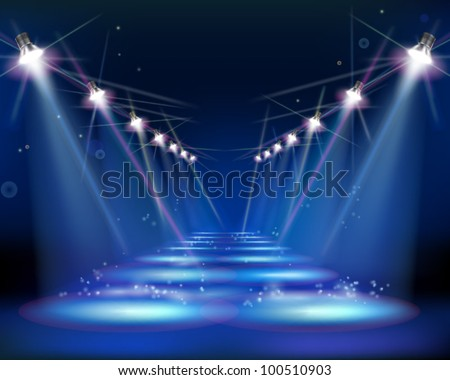 Way at night. Vector Illustration. - stock vector