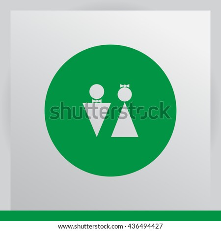 WC icon, Thinking vector illustration. Flat design style - stock vector