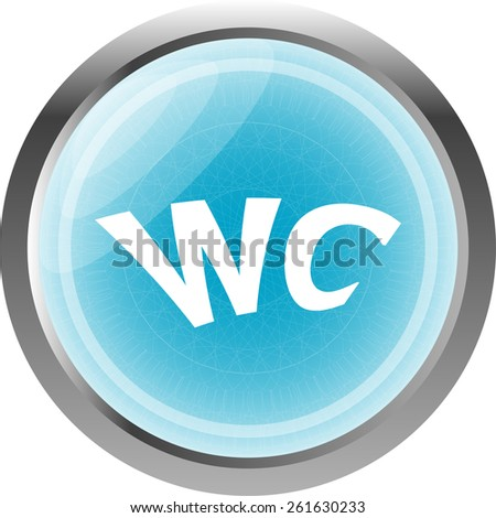 wc icon, web button isolated on white - stock vector