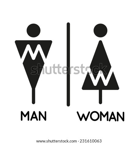 WC sign icon. Toilet symbol. Restrooms for women and men. Flat design.  - stock vector