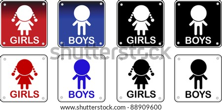 WC signs - stock vector