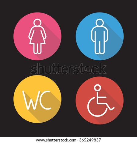 WC toilet entrance signs. Flat linear long shadow icons set. Man and woman silhouette and disabled wheelchair symbols. Restroom door icons. Outline logo concepts. Vector line art illustrations - stock vector