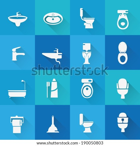 Wc ,Toilet icon 1( long Shadow ) - stock vector