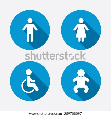 WC toilet icons. Human male or female signs. Baby infant or toddler. Disabled handicapped invalid symbol. Circle concept web buttons. Vector - stock vector