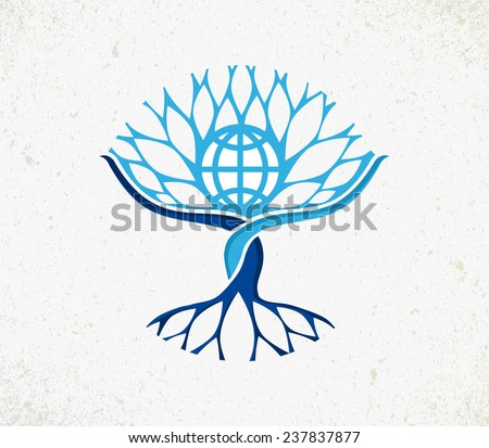We all are one concept tree. Community management with Earth globe, roots and branches icon illustration. EPS10 vector file organized in layers for easy editing.  - stock vector