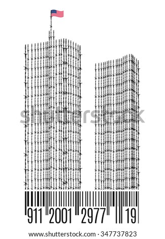 We Will Never Forget, September 11 2001 - stock vector