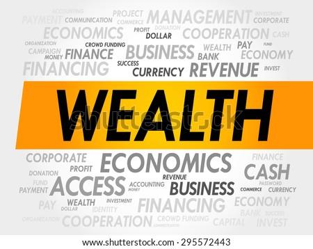 WEALTH word cloud, business concept - stock vector