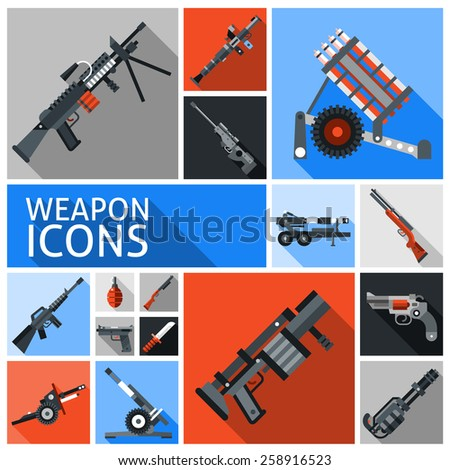 Weapon decorative icons set with machine gun grenade handgun isolated vector illustration - stock vector