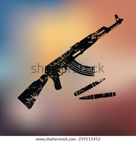 Weapon design on blur background,grunge vector - stock vector