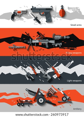 Weapon horizontal banners set with small arms heavy light artillery elements isolated vector illustration - stock vector