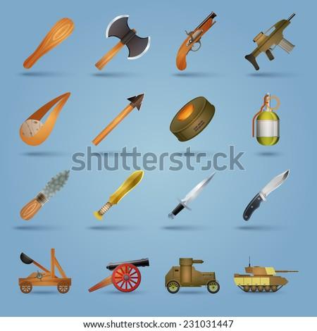 Weapon icons set with gun shotgun grenade tank stun isolated vector illustration - stock vector
