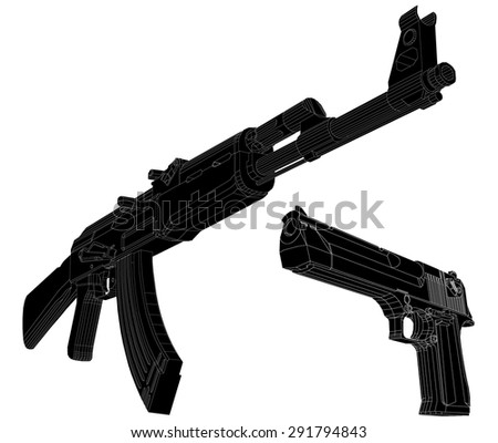 weapon images. vector illustration 2 - stock vector