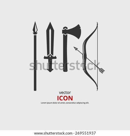 Weapon medieval icons, axe, sword, bow, spear. Vector silhouette.  - stock vector