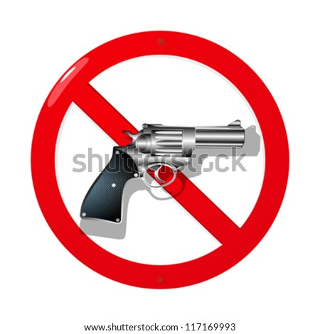 Weapon restriction sign in 3D. Isolated and grouped objects over white background - stock vector