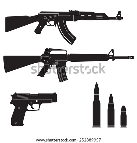 Weapons and military set. Sub machine guns, pistol and bullets black icons isolated on white background. Vector illustration. - stock vector