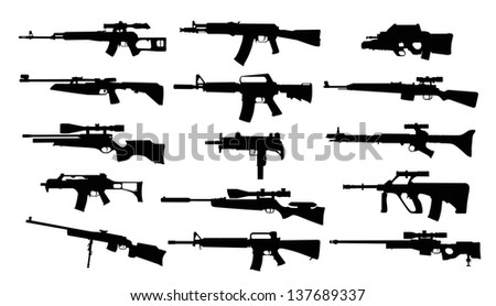 Weapons. Set of rifles - stock vector