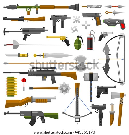 Weapons vector guns collection icons. Pistols, sub-machine guns and assault rifles. Sniper rifles, knifes and grenade vector icons. Weapon gun illustration isolated on white background - stock vector