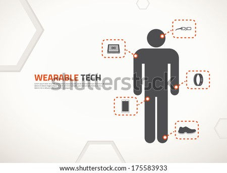 Wearable technology cector concept design and icons - stock vector
