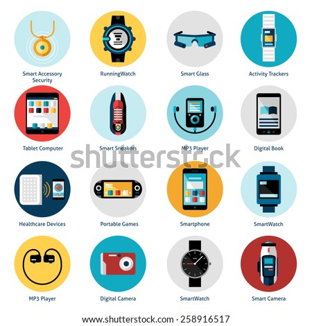 Wearable technology icons set with smart accessory running watch activity trackers isolated vector illustration - stock vector