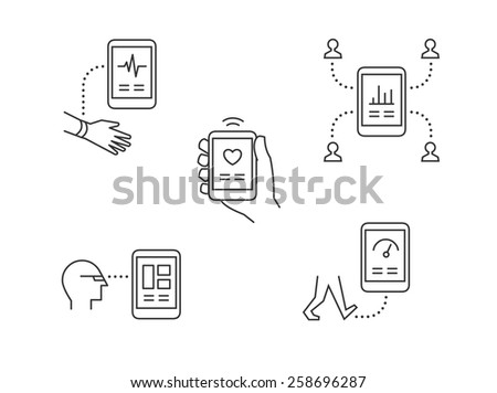 Wearable technology icons with modern high tech mobile devices tracking health and sharing info - stock vector