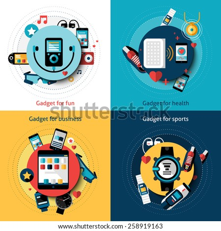 Wearable technology set with gadgets for fun health business and sports vector illustration - stock vector