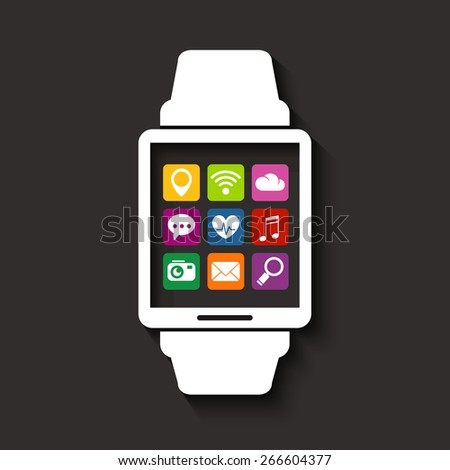 Wearables technology device smartwatch with apps icons - stock vector