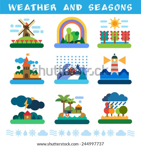 Weather and seasons. Rain, wind, storm, sun, clouds, snow, fog. Vector flat illustrations - stock vector