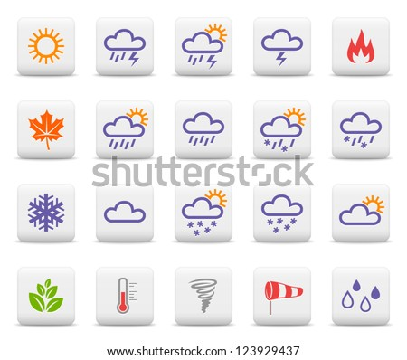 Weather and seasons. Vector icon set - stock vector