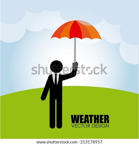 Weather design over landscape background, vector illustration - stock vector
