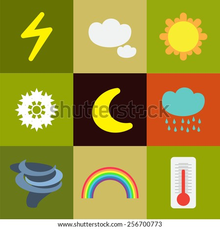 Weather flat icons - stock vector