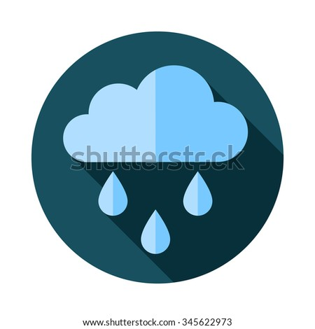 weather flat vector icon with rain - stock vector