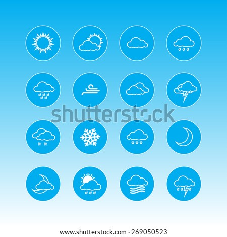 weather forecast icons in blue circles - stock vector