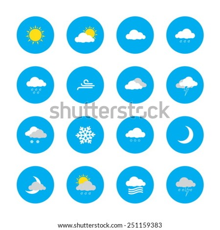 weather forecast icons in blue rounds - stock vector