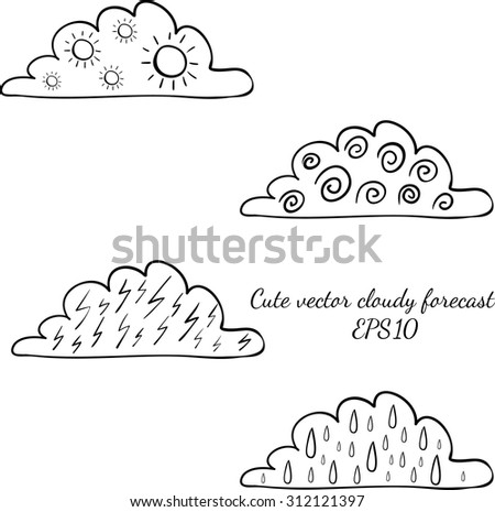 Weather forecast signs in clouds isolated on white background. Wind, rain, thunder, sun. Vector hand drawn illustration - stock vector