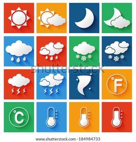 Weather forecast symbols white icons set of wind thunderstorm clouds and rain vector illustration - stock vector