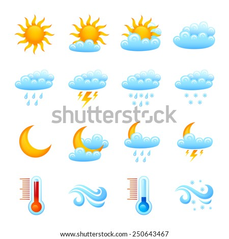 Weather forecast website decorative icon set with sun clouds rain thermometer isolated vector illustration - stock vector