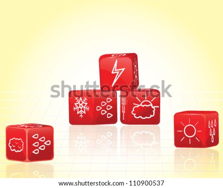 Weather forecasting dices - stock vector