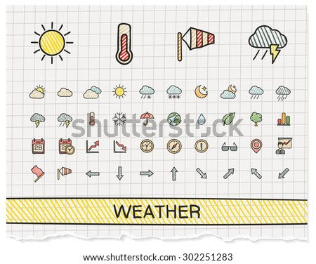 Weather hand drawing line icons. Vector doodle pictogram set: color pen sketch sign illustration on paper with hatch symbols: storm, rain, cold, temperature, parasol, umbrella, climate, night. - stock vector